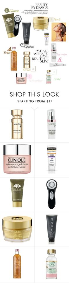 """""""Hello, Flawless!😘"""" by aharcaki ❤ liked on Polyvore featuring beauty, Lancôme, Clinique, Neutrogena, Origins, Clarisonic, Oribe, Borghese, Fresh and Mario Badescu Skin Care"""