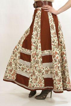 Vintage 70s Hippie boho patchwork maxirock maxi skirt - shabbybabe  - 1