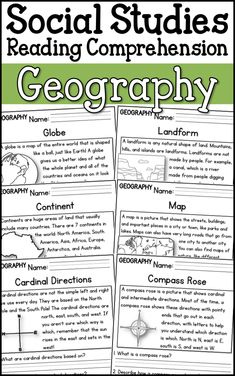 : Are you looking to integrate social studies into your reading curriculum? This resource includes 10 reading passages focused on geography. Each passages includes questions that going along with the information in the reading. 3rd Grade Social Studies, Kindergarten Social Studies, Social Studies Notebook, Social Studies Worksheets, Social Studies Classroom, Social Studies Activities, Teaching Social Studies, Geography For Kids, Geography Lessons