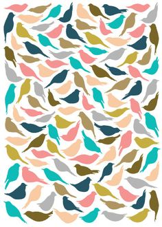 love love love!  _______________________  8x10 MultiColored Bird Pattern Print. $11.00, via Etsy.