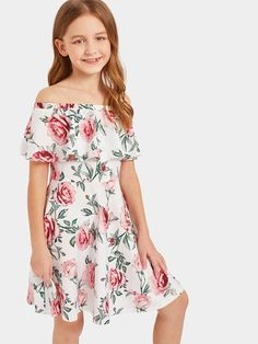 To find out about the Girls Ruffle Off Shoulder Floral Dress at SHEIN, part of our latest Girls Dresses ready to shop online today! Cute Casual Outfits, Kids Outfits, Off Shoulder Floral Dress, Shoulder Dress, Cute Dresses, Girls Dresses, Kids Fashion, Fashion Outfits, Fashion Women
