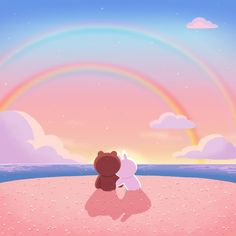 Babe and I somewhere in paradise😻 Cute Love Pictures, Cute Love Gif, Cute Couple Cartoon, Cute Cartoon, Line Cony, Cony Brown, Chibi Cat, Lines Wallpaper, Profile Wallpaper