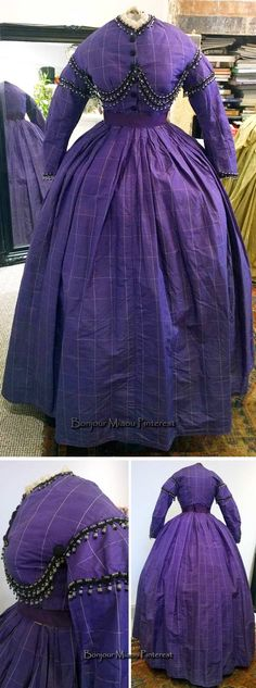 Two-piece day dress ca. 1860s. Purple checked silk trimmed with strands of glass beads, decorative glass buttons, and lace at neckline. Skirt has 2 concealed pockets. Grosgrain belt and handkerchief. sgh2274/eBay