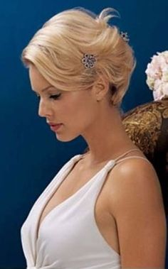 elegant simple updo for short hair... John Frieda, this is really adorable thank you for the idea but can you tell me how to do it so I can do this?