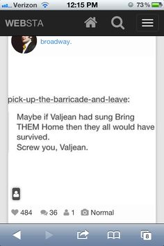 dangit valjean but then again marius survived because valjean save him, so like if he had taken any of the others wtih him as well