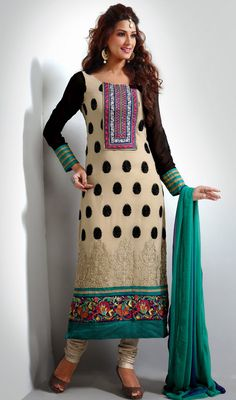 Sonali Bendre Beige and Black Georgette Long Churidar Suit Price: Usa Dollar $115, British UK Pound £68, Euro85, Canada CA$123 , Indian Rs6210.