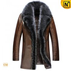 Mens Embossed Sheepskin Leather Coat Raccoon Fur Trim CW852555
