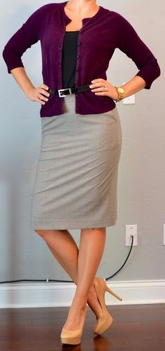 Outfit Posts: outfit post: grey pencil skirt, plum cardigan, nude pumps