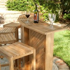 Teak Bar and Backless Bar Stool Set - Westminster Teak Outdoor Furniture