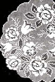 Filet Crochet Flower Doily Doilies Mats Pattern Design #412