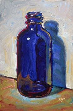 """Valeries Blue Bottle"" - Original Fine Art for Sale - © Raymond Logan"