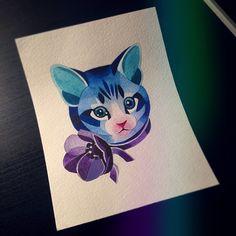 """#kitty #sashaunisex #watercolour """