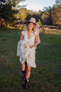 short lace wedding dress with cowboy boots | Renewing The Knot ...