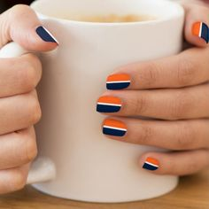 Dark Navy Blue, Orange, White Stripe Minx Nail Wraps by M to the Fifth Power Nail Art Orange, White Nail Art, White Nails, Navy Nails, Blue Nails Art, Black Nail, Cute Nail Colors, Nail Polish Colors, Two Color Nails