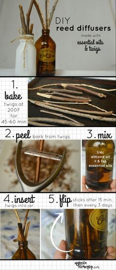 DIY Reed Diffusers made with essential oils and natural twigs.  How to make your own oil diffuser that is non-toxic, safe, and cheap!  Also gives instructions on how to dry and peel bark from twigs.  By My Darla Clementine