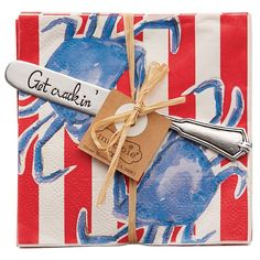 2-piece set. 1 pack of 12 printed paper cocktail napkins arrive tied with stamped 'Get crackin'' silver-plate spreader. Put out when hosting friends for them to use with their appetizers and drinks! Great to use at the beach or lake all Summer long!