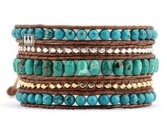 Beaded Wrap Bracelet  Natural Turquoise w/ by SukiFashionista