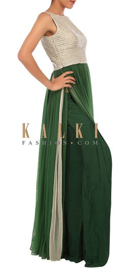 Buy Online from the link below. We ship worldwide (Free Shipping over US$100) http://www.kalkifashion.com/olive-green-outfit-adorn-in-pearl-and-stone-embroidery-only-on-kalki.html