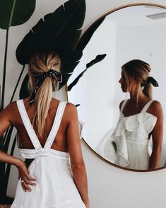 Classic white sundress and a bandana scarf