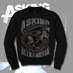 Asking Alexandria, Reaper Black Crewneck Sweatshirt $25