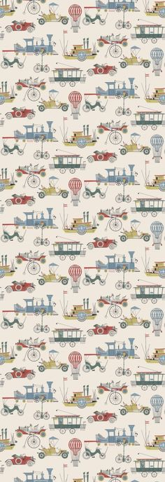 Lilleby Kids - Boråstapeter Wallpapers - Old fashioned cars, boats and trams, trains and bicycles in an all over multi coloured pattern - supplied as a single panel wallcovering in one length, wide and long. Train Wallpaper, Kids Room Wallpaper, Fabric Wallpaper, Ballet Wallpaper, Old Fashioned Cars, Kids Prints, Surface Pattern Design, Designer Wallpaper, Boy Room