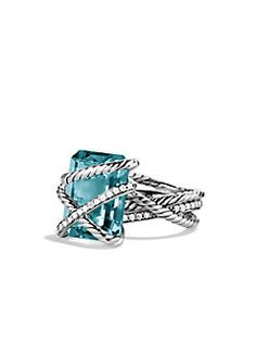 cable wrap ring with blue topaz & diamonds