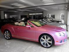 Pink Bentley Continental GT Convertible ☆ Girly Cars for Female Drivers! Love Pink Cars ♥ It's the dream car for every girl ALL THINGS PINK #bentley #pink