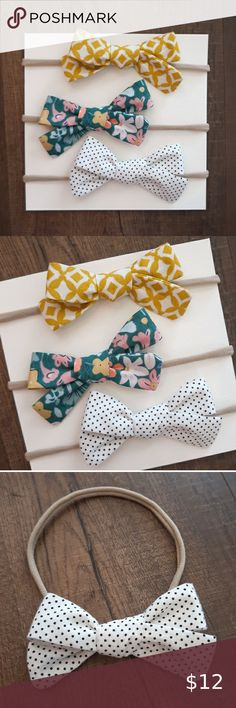"Set of 3 hand-tied bow headbands Set of 3 hand-tied bow headbands. Yellow mod print, teal floral print, and black and white polka dot.   Each handmade bow is tied on a super soft, stretchy nude nylon headband. Headband is one size fits most and can fit newborn, baby, and toddlers.   Bows measure approximately 3.25"" x 2"".  ☆ BUNDLE & SAVE 15% off on 2 or more items in my closet Accessories Hair Accessories"