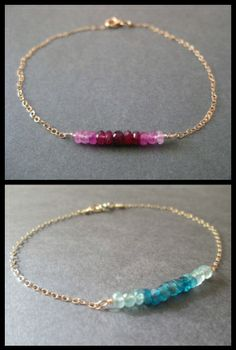 mbre gemstone bracelets by Robin Designed, shown in ombre ruby and neon blue apetite. Via Diamonds in the Library's jewelry gift guide.