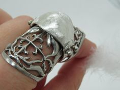 Sterling silver gothic flexible joint ring Armour by Olablingola, $100.00