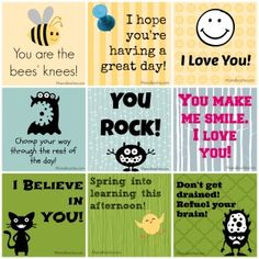 Free Printable Lunch Box Notes.  @Heather Creswell Creswell Creswell Creswell Johnson