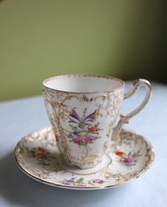 Hand Painted Porcelain Cup and Saucer for Coco or Hot Chocolate. Beautifully Hand Painted and Detai Coffee Cups And Saucers, Cup And Saucer Set, Tea Cup Saucer, Painted Porcelain, Porcelain Ceramics, Hand Painted, Bone China Dinnerware, Turkish Coffee Cups, Antique Tea Cups