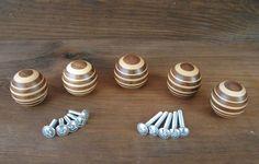 5 Möbelgriffe Holz geringelt Shabby Möbelknopf Möbelknauf Griff Knauf Möbelgriff