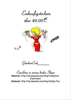 Gutschein 40,00€ von Hobby-Fun/kreative Schmuckideen auf DaWanda.com