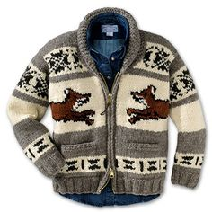 Since the late the Salish of the Cowichan Valley of Vancouver Island, B. have knitted their famed woolen sweaters. I would love to have a heavy wool sweater. Cowichan Sweater, Fox Sweater, Knit Cardigan, Pendleton Clothing, Cold Weather Gear, Sweater Making, Equestrian Style, Knitting Designs, Knitting Patterns