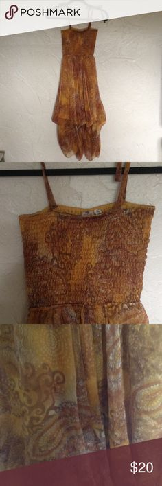 """Easy breezy summer dress Brown and gold paisley print sundress. Spaghetti strap. Elastic bodice. 37"""" from center of top to hem. Hem is bubble cut. Hem can be adjusted with hidden ties. Hibiscus Dresses Asymmetrical"""