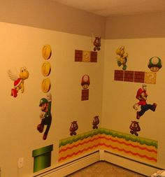 Creative layout idea for Super Mario  decals for creating an amazing boys room!