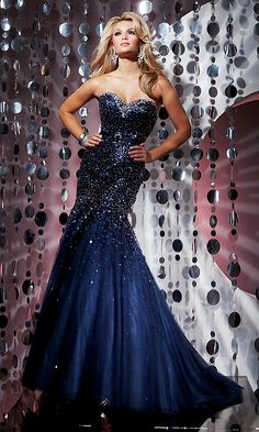 Floor length midnight blue sequined gown