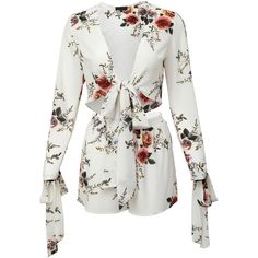 White Floral Print Bow Tie Blouse With Shorts ($25) ❤ liked on Polyvore featuring tops, blouses, dresses, romper, white, floral tops, white blouses, floral two piece, white bow blouse and white v neck blouse