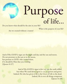 Purpose of life is to worship the only One GOD... #Allah, #Quran, #Islam
