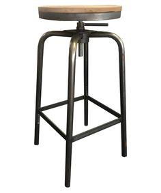Retro-Industrial-stool-Oak-seat-Straight Leg- Milano