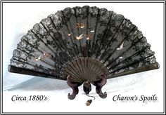 Vintage French fan:Black Lace, Hand painted Birds, Hand Carved Sticks: from charonsspoilsantiques on Ruby Lane Antique Fans, Vintage Fans, Painted Birds, Hand Painted, Victorian Era, Victorian Fashion, My Images, French Vintage, Hand Carved