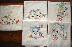 Vintage Embroidered Dish Towel Lot of 5 Nice by Grantcitycreations, $34.00