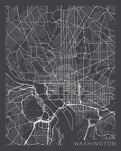Washington DC Map, USA in Gray / Modern art map by MainStreetMaps • Millions of unique designs by independent artists. Find your thing. Washington Dc Map, Education Jobs, Higher Education, Map Design, Graphic Design, Create Image, Cartoon Kids, Map Art, Sell Your Art