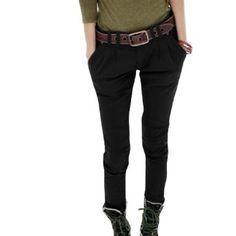 Allegra K Women Low Rise Pleated Slanting 2 Pockets Harem Pants Black M Allegra K. $15.00