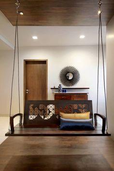 Nitya Bungalow – a t associates Home Decor Furniture, Furniture Design, Hanging Furniture, Indian Interior Design, Flat Interior, Living Room Designs, Living Room Decor, Home Swing, Indian Living Rooms