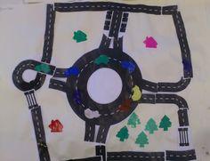 * Wegennet maken! Kinderen knippen verschillende wegen uit en plakken deze op...goed puzzelen...