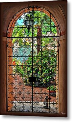 Wrought Iron Garden Gates, Wrought Iron Decor, Iron Windows, Iron Doors, Entry Gates, Entrance, Iron Gate Design, Patio Doors, Spanish Style