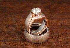 Modern Mokume Swirl Engagement Ring, Contoured Diamond Wedding Band and Mokume Wedding Band for him.
