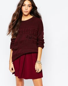 Pimkie Cable Knit Jumper With Fringing